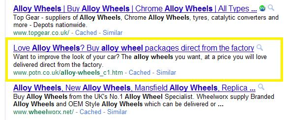 Google results for Alloy Wheels, Showing POTN' Alloy Wheel Sub-page