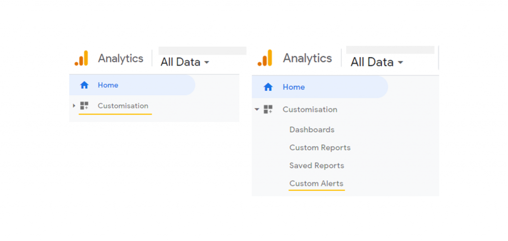 How to navigate to custom alerts on Google Analytics