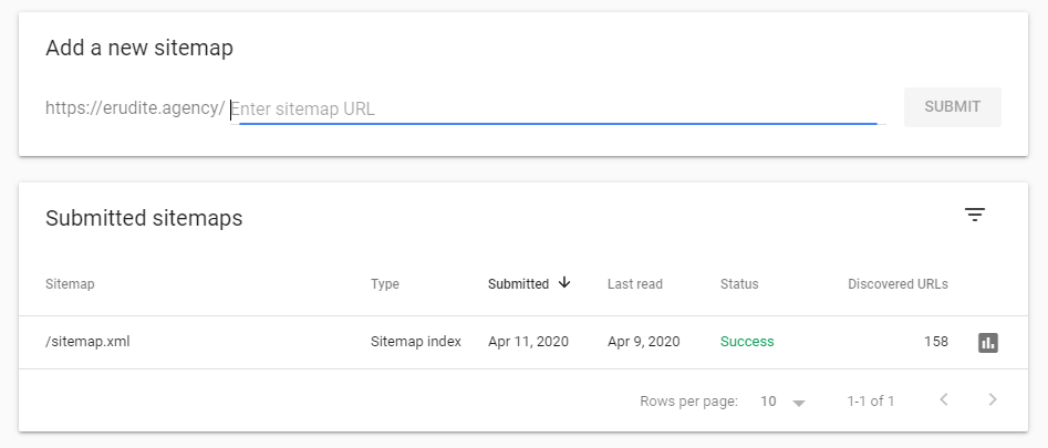 Google search console sitemap add