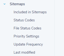 list of sitemap options