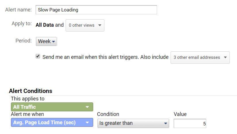 Slow loading page Google Analytics Custom Alert