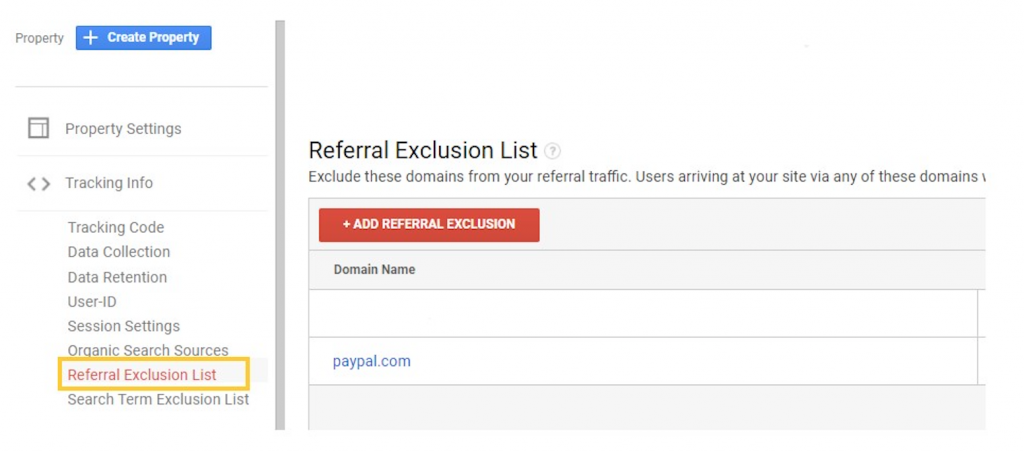 Example of referral exclusion list in Google Analytics