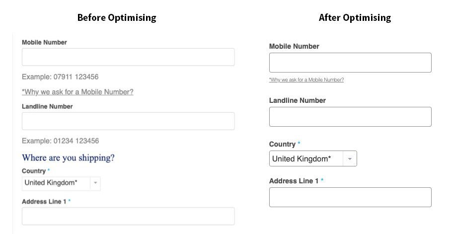 before and after optimising checkout fields