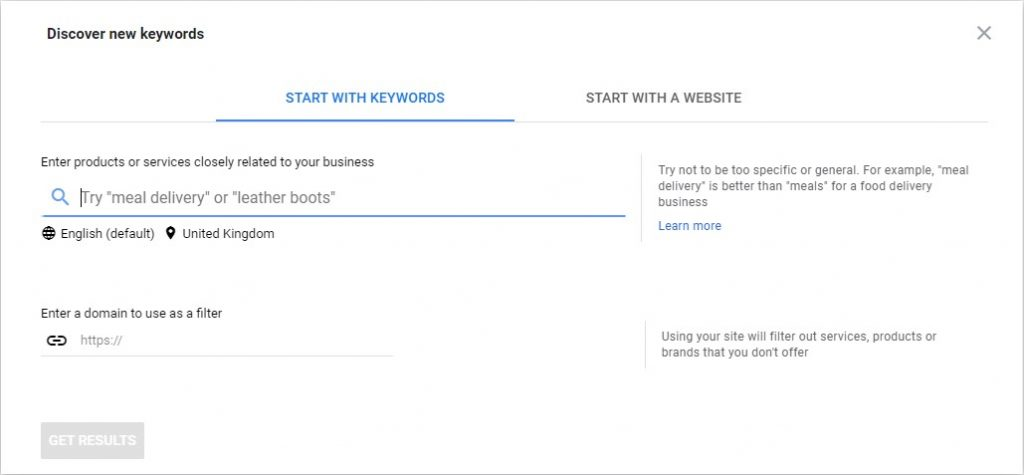Google's Keyword Planner Tool -Discover new keywords