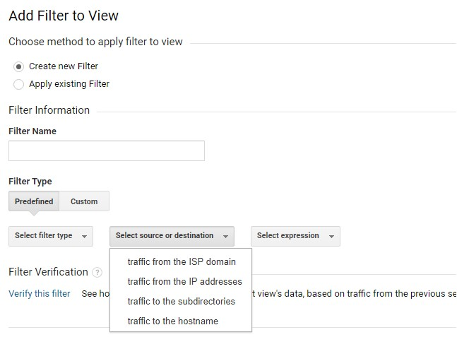 Predefined Filters - Select source or destiantion