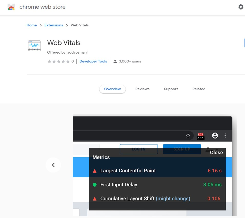 Core Web Vitals Extension from Chrome Web Store