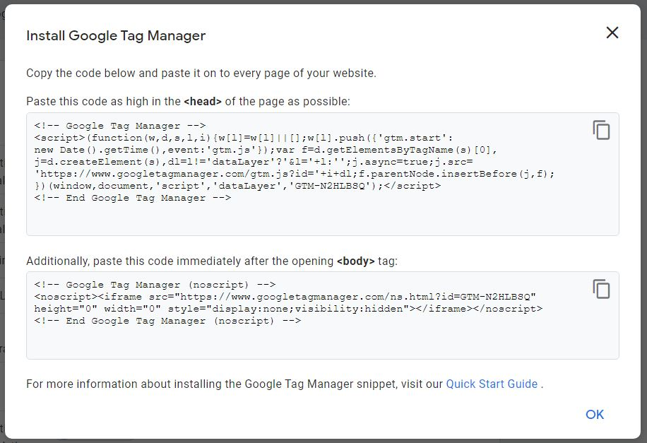 Examples of Google Tag Manager tracking codes so that users can install GTM by copying and pasting them into the right areas of their code.