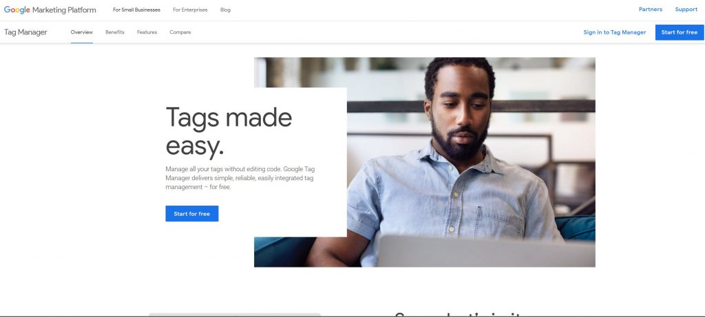 The login page for Google Tag Manager
