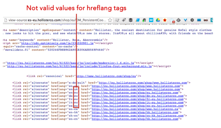 Highlighting hreflang tags that are invalid